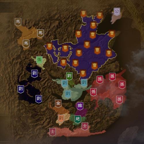 三国志14 207年9月初期マップ