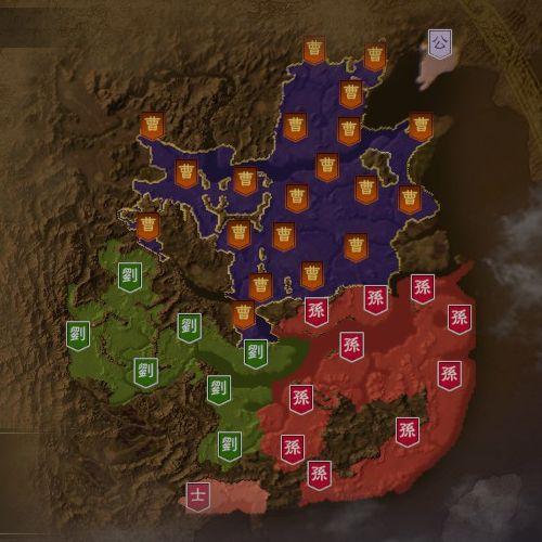 三国志14 215年8月初期マップ