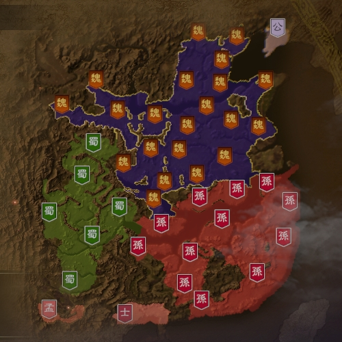 三国志14 221年7月初期マップ