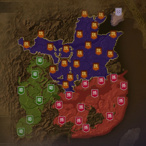 三国志14 227年2月初期マップ