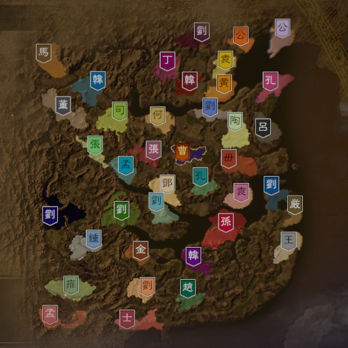 三国志14 251年1月初期マップ